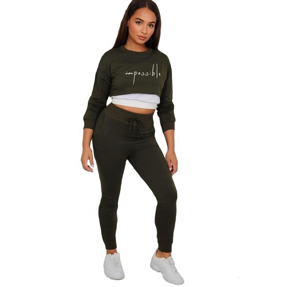 Trening femei J5 Fashion Slogan 3-in-1 Khaki