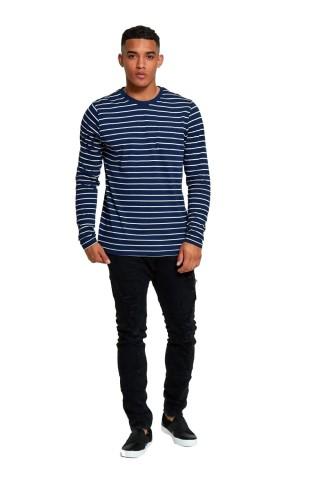 Bluza barbati J5 Fashion Breton Stripes Bleumarin