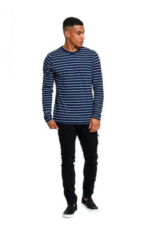 Bluza barbati J5 Fashion Breton Stripes Bleumarin