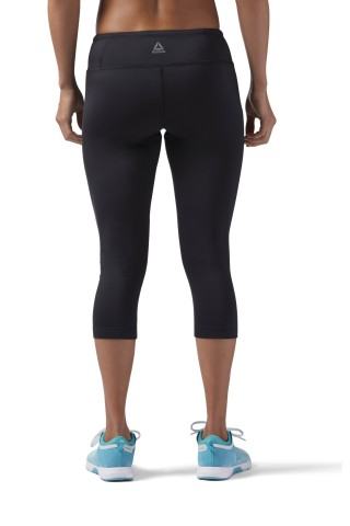 Colanti sport femei Reebok  Workout Ready Capri Negru