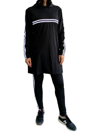 Trening femei J5 Fashion Twin Stripe Negru Argintiu