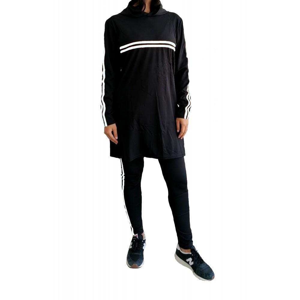 Trening femei J5 Fashion Twin Stripe Negru Alb