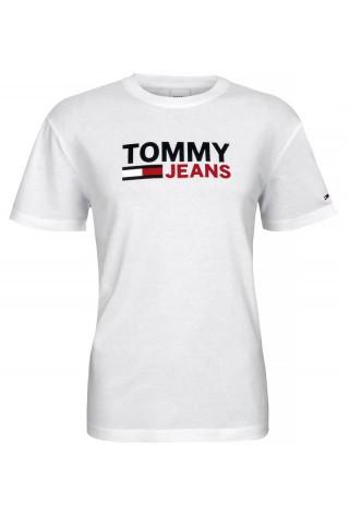Tricou barbati Tommy Jeans Corp Logo Tee Alb