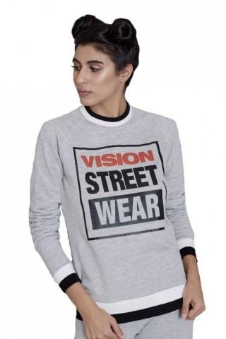 Bluza femei Vision Street Wear Raglan Crew Logo Grey
