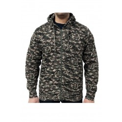 Hanorac barbati Game Technical Apparel Zip Hoodie Digital Woodland Verde